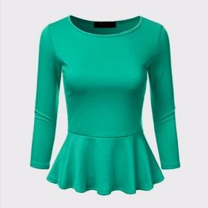 NWT The Limited • Peplum Blouse in Green